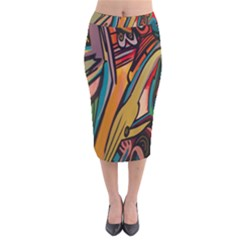Vivid Colours Velvet Midi Pencil Skirt