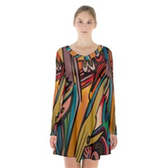 Vivid Colours Long Sleeve Velvet V Neck Dress