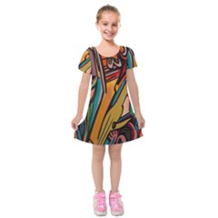 Vivid Colours Kids  Short Sleeve Velvet Dress