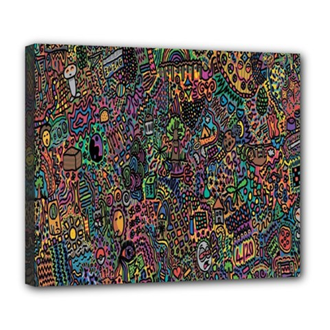 Trees Internet Multicolor Psychedelic Reddit Detailed Colors Deluxe Canvas 24  x 20