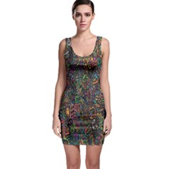 Trees Internet Multicolor Psychedelic Reddit Detailed Colors Sleeveless Bodycon Dress
