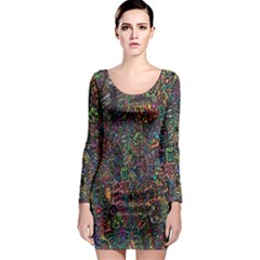 Trees Internet Multicolor Psychedelic Reddit Detailed Colors Long Sleeve Bodycon Dress