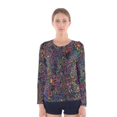 Trees Internet Multicolor Psychedelic Reddit Detailed Colors Women s Long Sleeve Tee