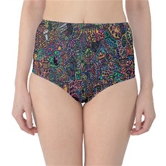 Trees Internet Multicolor Psychedelic Reddit Detailed Colors High-Waist Bikini Bottoms