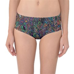 Trees Internet Multicolor Psychedelic Reddit Detailed Colors Mid-Waist Bikini Bottoms