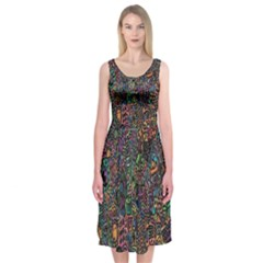 Trees Internet Multicolor Psychedelic Reddit Detailed Colors Midi Sleeveless Dress