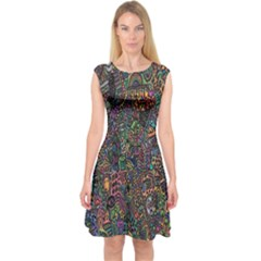 Trees Internet Multicolor Psychedelic Reddit Detailed Colors Capsleeve Midi Dress
