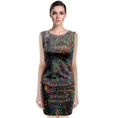 Trees Internet Multicolor Psychedelic Reddit Detailed Colors Sleeveless Velvet Midi Dress