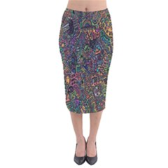 Trees Internet Multicolor Psychedelic Reddit Detailed Colors Velvet Midi Pencil Skirt
