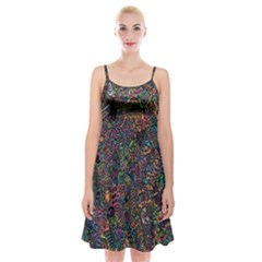 Trees Internet Multicolor Psychedelic Reddit Detailed Colors Spaghetti Strap Velvet Dress