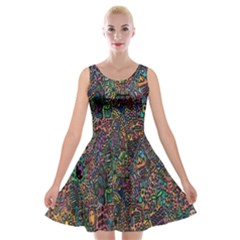 Trees Internet Multicolor Psychedelic Reddit Detailed Colors Velvet Skater Dress