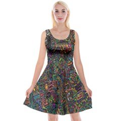 Trees Internet Multicolor Psychedelic Reddit Detailed Colors Reversible Velvet Sleeveless Dress