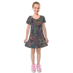 Trees Internet Multicolor Psychedelic Reddit Detailed Colors Kids  Short Sleeve Velvet Dress