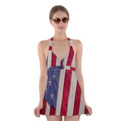 Usa Flag Halter Swimsuit Dress