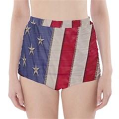 Usa Flag High Waisted Bikini Bottoms