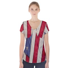 Usa Flag Short Sleeve Front Detail Top