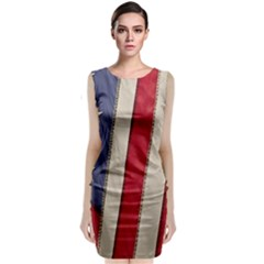 Usa Flag Sleeveless Velvet Midi Dress