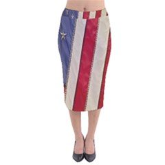 Usa Flag Velvet Midi Pencil Skirt