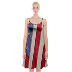 Usa Flag Spaghetti Strap Velvet Dress