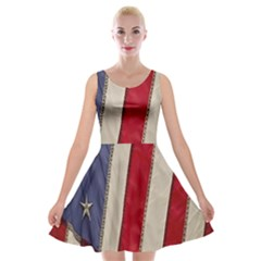 Usa Flag Velvet Skater Dress