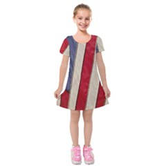 Usa Flag Kids  Short Sleeve Velvet Dress