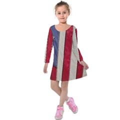 Usa Flag Kids  Long Sleeve Velvet Dress