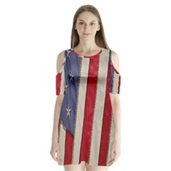 Usa Flag Shoulder Cutout Velvet  One Piece