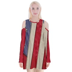 Usa Flag Velvet Long Sleeve Shoulder Cutout Dress