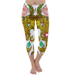 Traditional Thai Style Painting Capri Winter Leggings