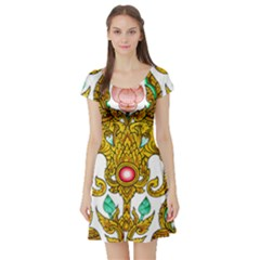 Traditional Thai Style Painting Short Sleeve Skater Dress