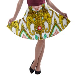 Traditional Thai Style Painting A-line Skater Skirt
