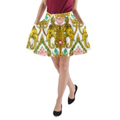 Traditional Thai Style Painting A-Line Pocket Skirt