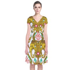 Traditional Thai Style Painting Short Sleeve Front Wrap Dress