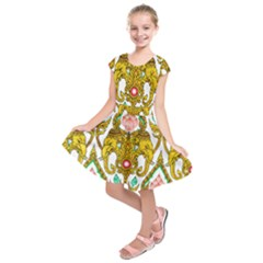 Traditional Thai Style Painting Kids  Short Sleeve Dress