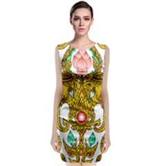 Traditional Thai Style Painting Sleeveless Velvet Midi Dress