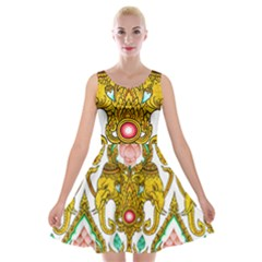 Traditional Thai Style Painting Velvet Skater Dress