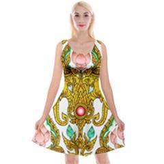 Traditional Thai Style Painting Reversible Velvet Sleeveless Dress