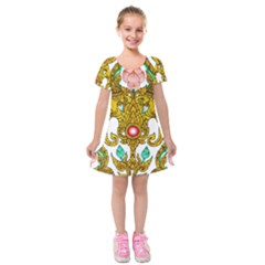 Traditional Thai Style Painting Kids  Short Sleeve Velvet Dress