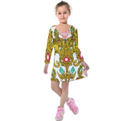 Traditional Thai Style Painting Kids  Long Sleeve Velvet Dress