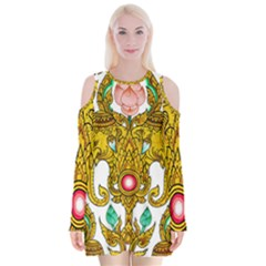 Traditional Thai Style Painting Velvet Long Sleeve Shoulder Cutout Dress