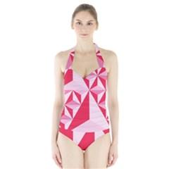 3d Pattern Experiments Halter Swimsuit