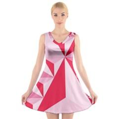 3d Pattern Experiments V Neck Sleeveless Skater Dress
