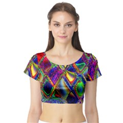 Abstract Digital Art Short Sleeve Crop Top (tight Fit)
