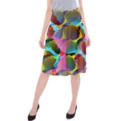 3d Pattern Mix Midi Beach Skirt