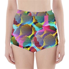 3d Pattern Mix High-Waisted Bikini Bottoms