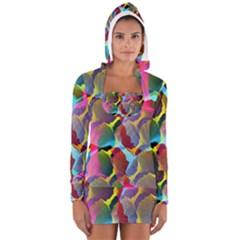 3d Pattern Mix Women s Long Sleeve Hooded T Shirt