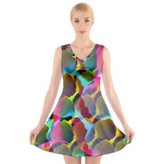 3d Pattern Mix V-Neck Sleeveless Skater Dress