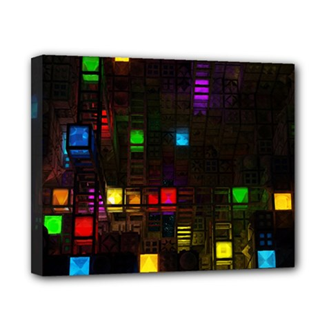 Abstract 3d Cg Digital Art Colors Cubes Square Shapes Pattern Dark Canvas 10  x 8