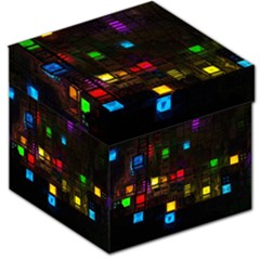 Abstract 3d Cg Digital Art Colors Cubes Square Shapes Pattern Dark Storage Stool 12