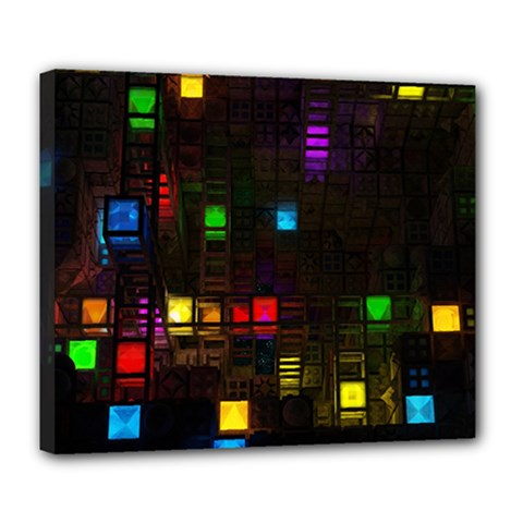 Abstract 3d Cg Digital Art Colors Cubes Square Shapes Pattern Dark Deluxe Canvas 24  X 20